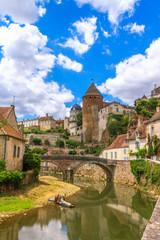 Quaint river through the medieval town of Semur en Auxois