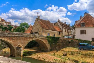 Bridge in picturesque medieval town of Semur en Auxois