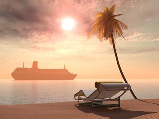 Kreuzfahrtschiff, Liegestuhl und Palme