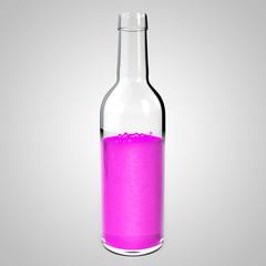 Glass bottle with pink liquid. Raspberry lemonade mock up. Bottle with a poisonous liquid. 3D illustration of purple cola.