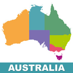 Australia color map with regions. Illustration