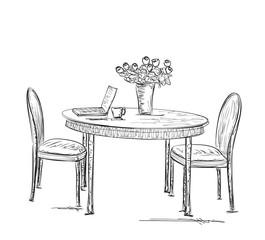 Street Cafe, Hand drawn furniture sketch