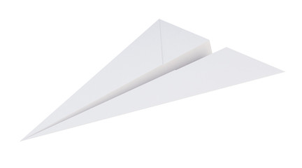 Paper plane isolated on white background.  Airplane origami. 3d rendering.