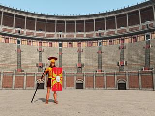 Kolosseum und Centurio im antiken Rom