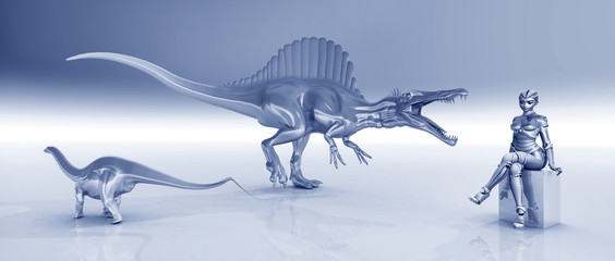 Female robot and sculptures of dinosaurs