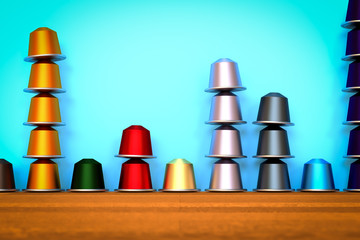 3D illustration of coffee capsules vintage arrangement in column