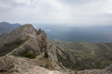 mystical misty mountain landscape rocky peak