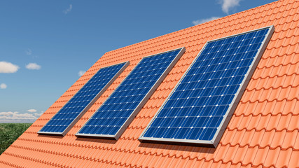 Solarmodule auf einem Dach