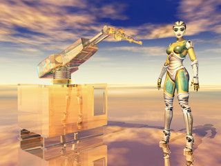 Robotic arm and female robot