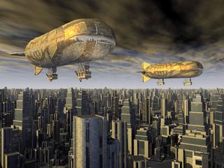 Fantasie Luftschiffe über einer Megastadt der Zukunft