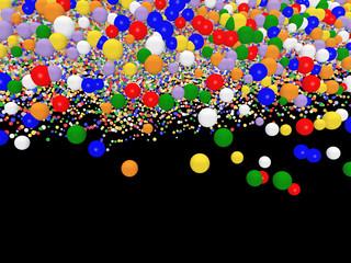 Bunte Luftballons vor schwarzem Hintergrund