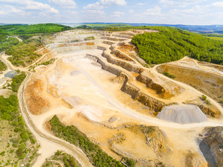 Biggest Czech limestone quarry Devil's Stairs - Certovy Schody. Aerial view of industrial landscape after mining. Industry and environment in Czech Republic, Europe.