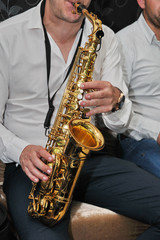 Man with saxophone at wedding