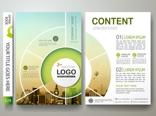 Brochure design template vector. Annual report flyers poster business magazine. Leaflet cover book presentation with flat city and green abstract circle background.Layout in A4 size.illustration.