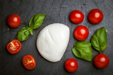 Mozzarella, tomato and basil.