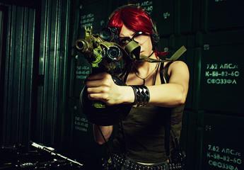 Redhead military girl