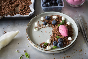 Mixed berry  mousse served on chocolate soil with cream drops, blueberries, lemon balm leaves and thyme flowers. Concept of food plating in modern nordic style. Selective focus.