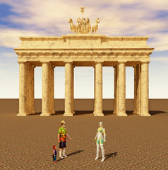 Touristen und Reiseführer vor dem Brandenburger Tor in Berlin