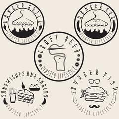 hipster style food labels vintage vector set