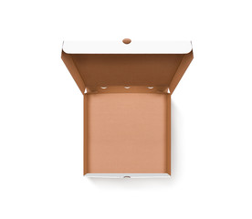Blank opened pizza box design mock up top view isolated