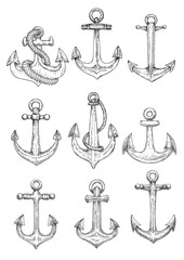 Vintage marine anchors with ropes sketch symbols