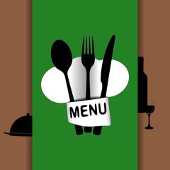 restaurant menu with chef hat chef green