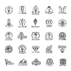Ice Cream Icons Set - Isolated On White Background - Vector Illustration, Graphic Design. For Web, Website, App