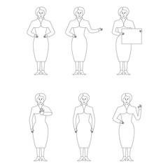 Set of six business women