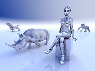 Female robot and sculptures of wild animals