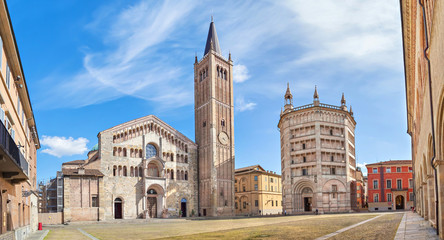 Panorama of Piazza Duomo in Parma