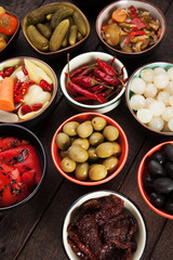 Olives and pickled vegetables