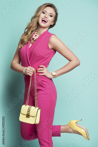 quot happy in a pink dress with a yellow bag and yellow