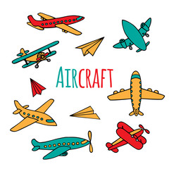 Vector collection of aircraft