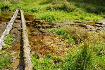 kładki przy źródle rzeki Sopot w Husinach