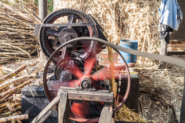 Small sugar cane mill producing panela (unrefined whole cane sugar), in Obando near San Agustin, Colombia