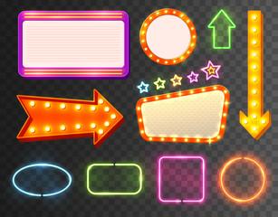 Neon Sign Icon Set