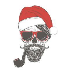 Santa Hipster skull