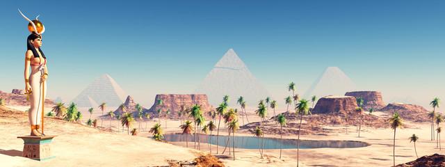 Göttin Hathor und Pyramiden von Gizeh
