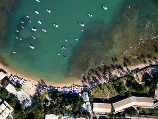 Top view of Praia do Forte beach in Bahia, Brazil