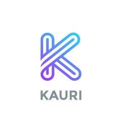 Letter K Logo design vector template. Font Lines Logotype
