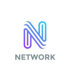 Letter N Logo design vector template. Font Lines Logotype