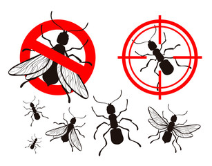 termite, ant. pest control icons set. vector illustration