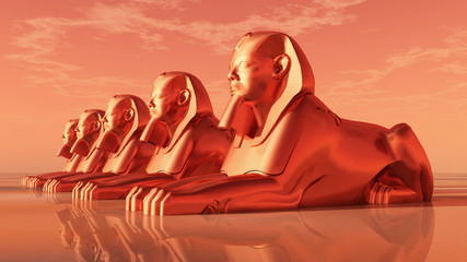 Sphinxe, Statuen eines männlichen Löwen