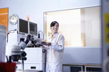 Technician working in LED factory