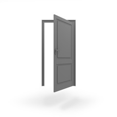Opened door icon JPEG isolated white background. 3D rendering.
