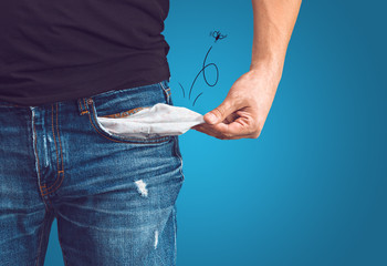 Man in jeans with empty pocket