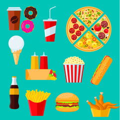Fast food sandwiches, desserts and drinks icon