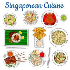 National dishes of singaporean cuisine sketch icon