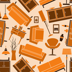 Seamless home furniture pattern background