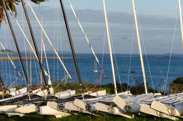 Coucher de soleil sur le port, la trinité-sur-mer, Bretagne